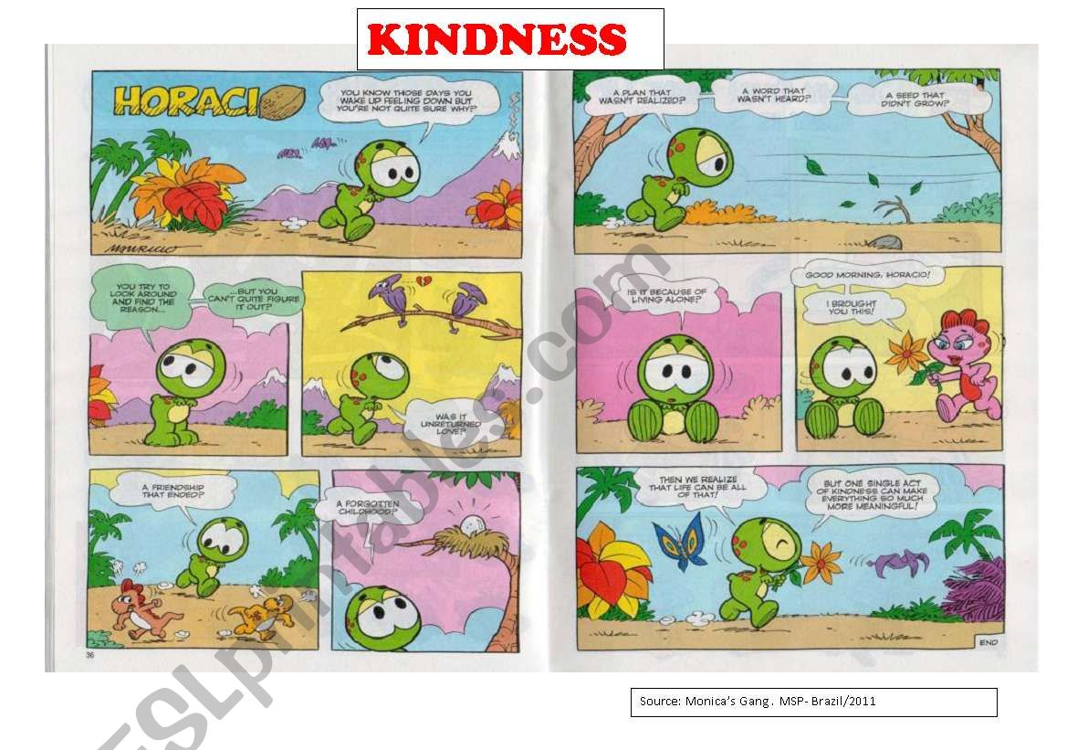 kindness- 2 pages : comic strip and a reading text