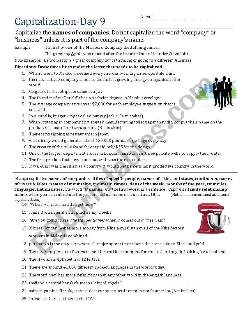 Capitalization- Day 9 worksheet