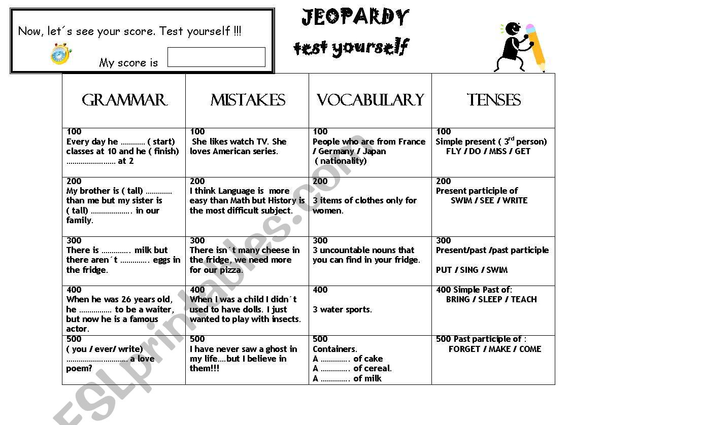 Jeopardy Game. Revision to start classes