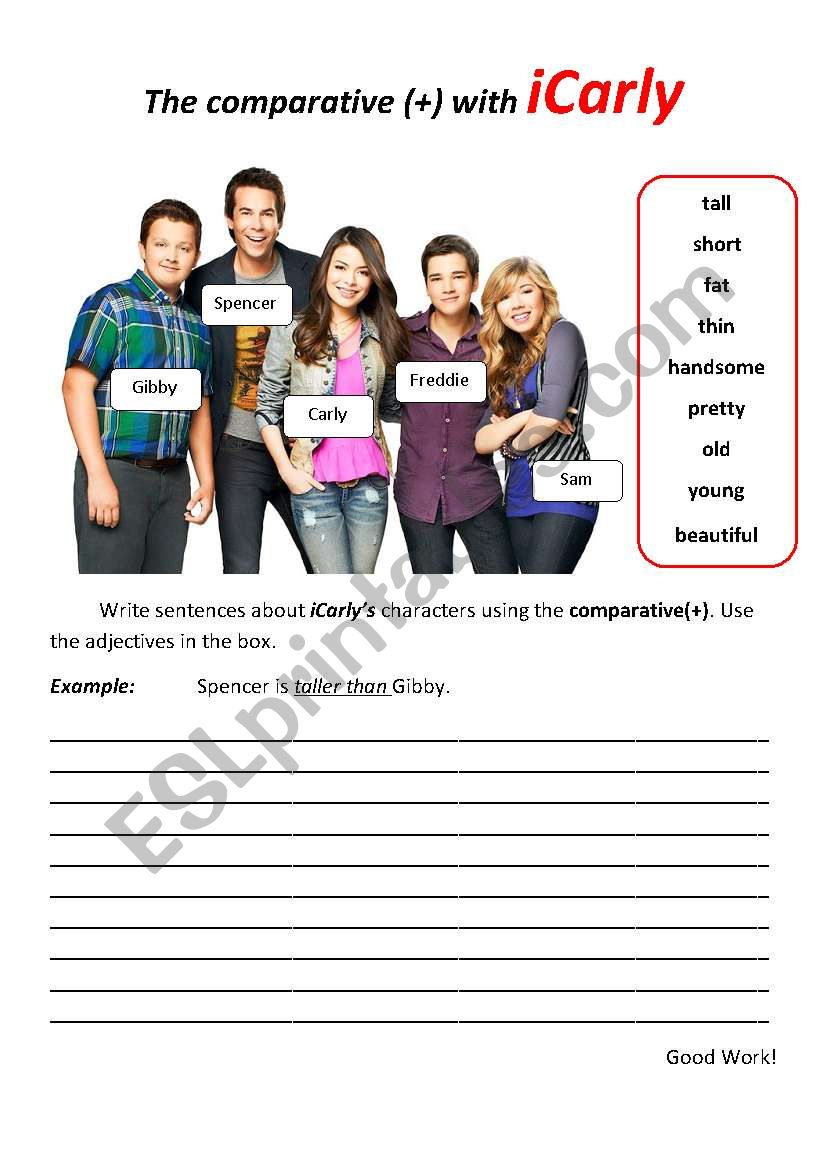 comparative (+) with iCarly - ESL worksheet by açoriano