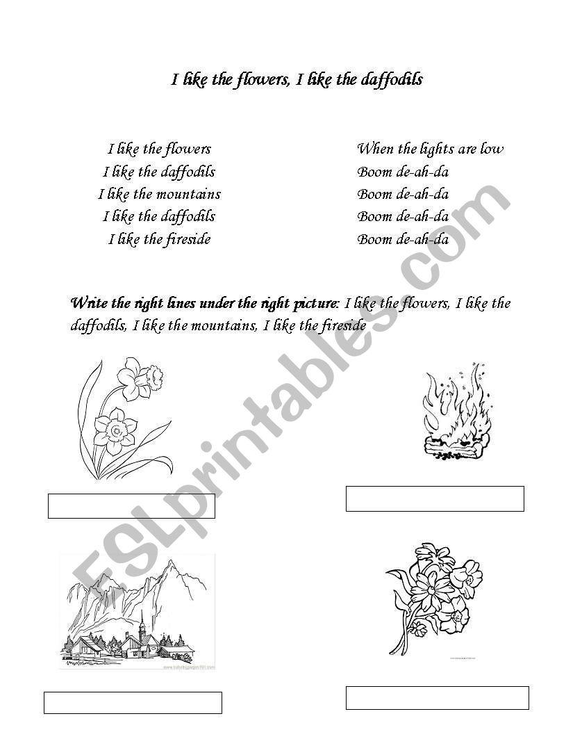 english worksheets i like the flowers i like the daffodills. Black Bedroom Furniture Sets. Home Design Ideas
