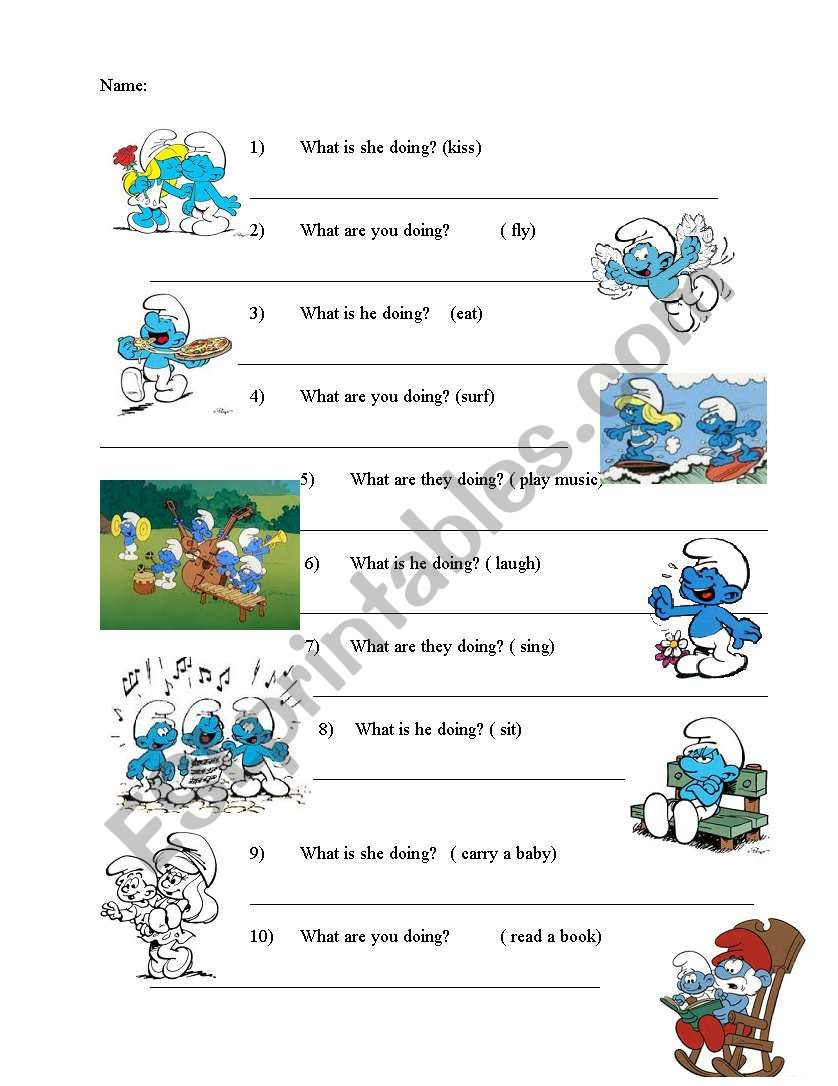 Present continuous tense- mini test for kids