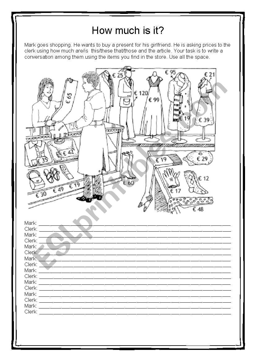 How much is this? worksheet