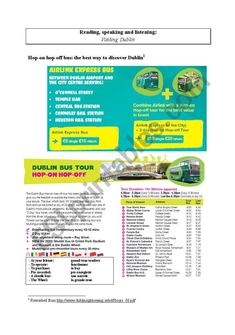 Visiting Dublin (PART 3) worksheet