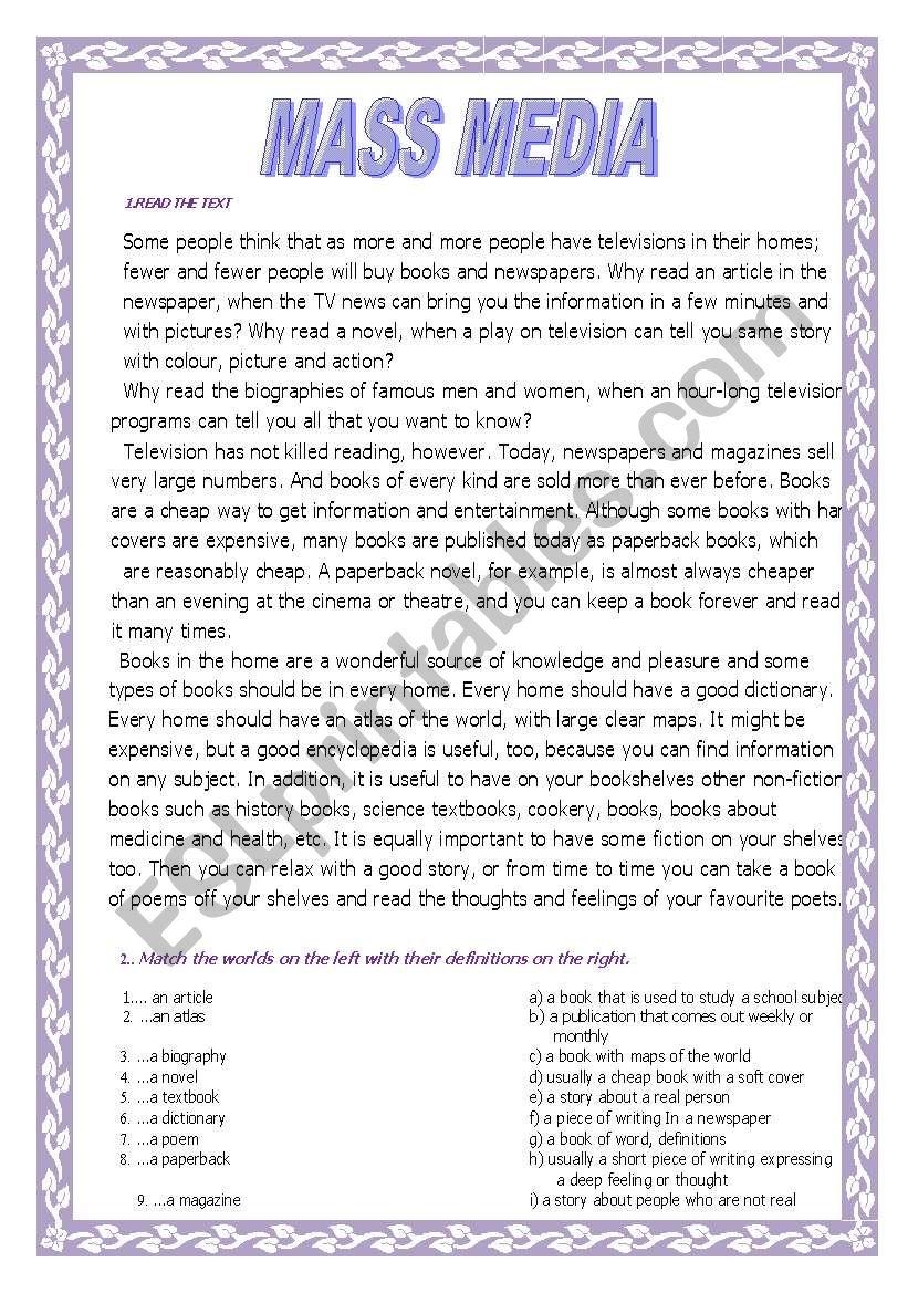 Mass media worksheet