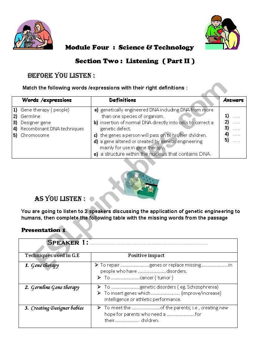 genetic engineering worksheet