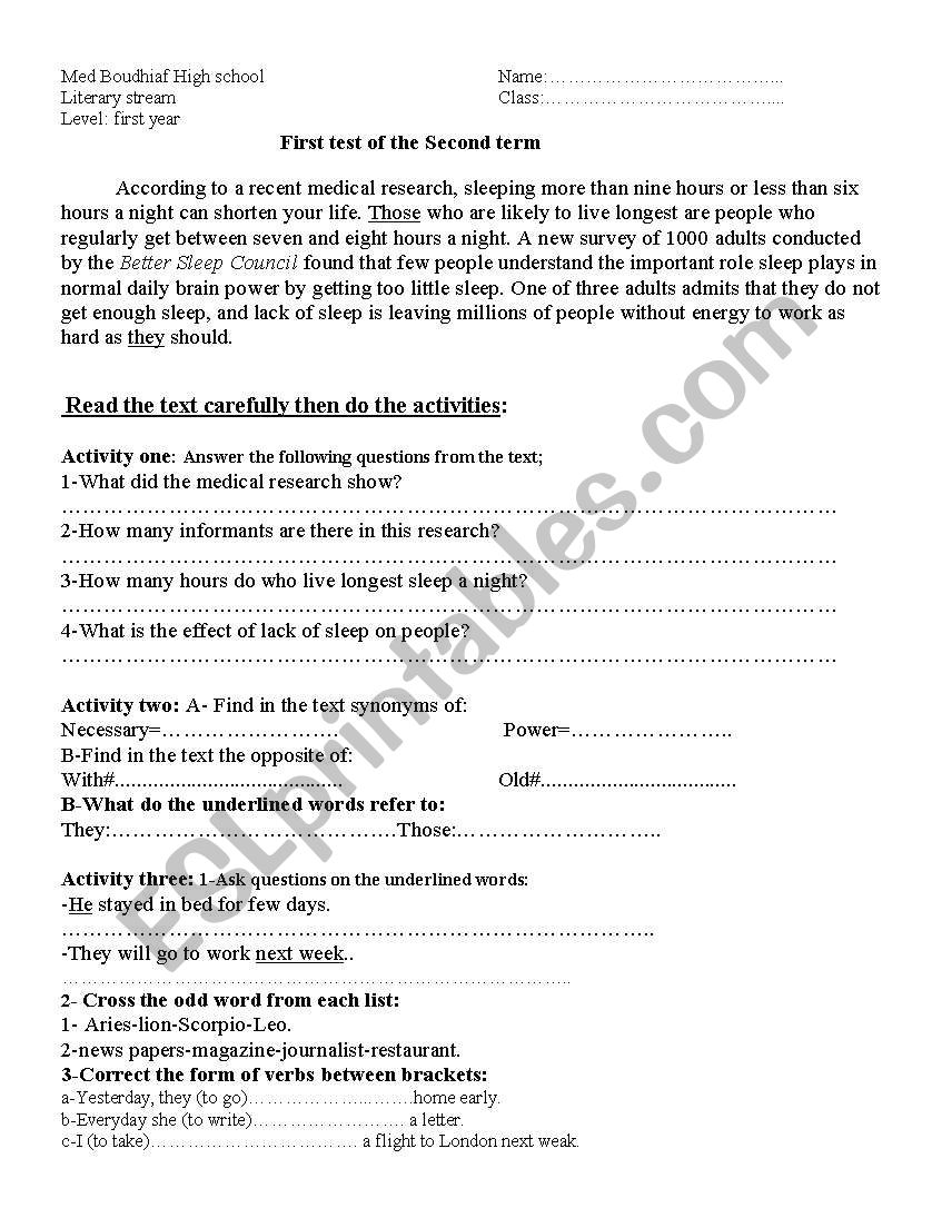 1st year second english test worksheet