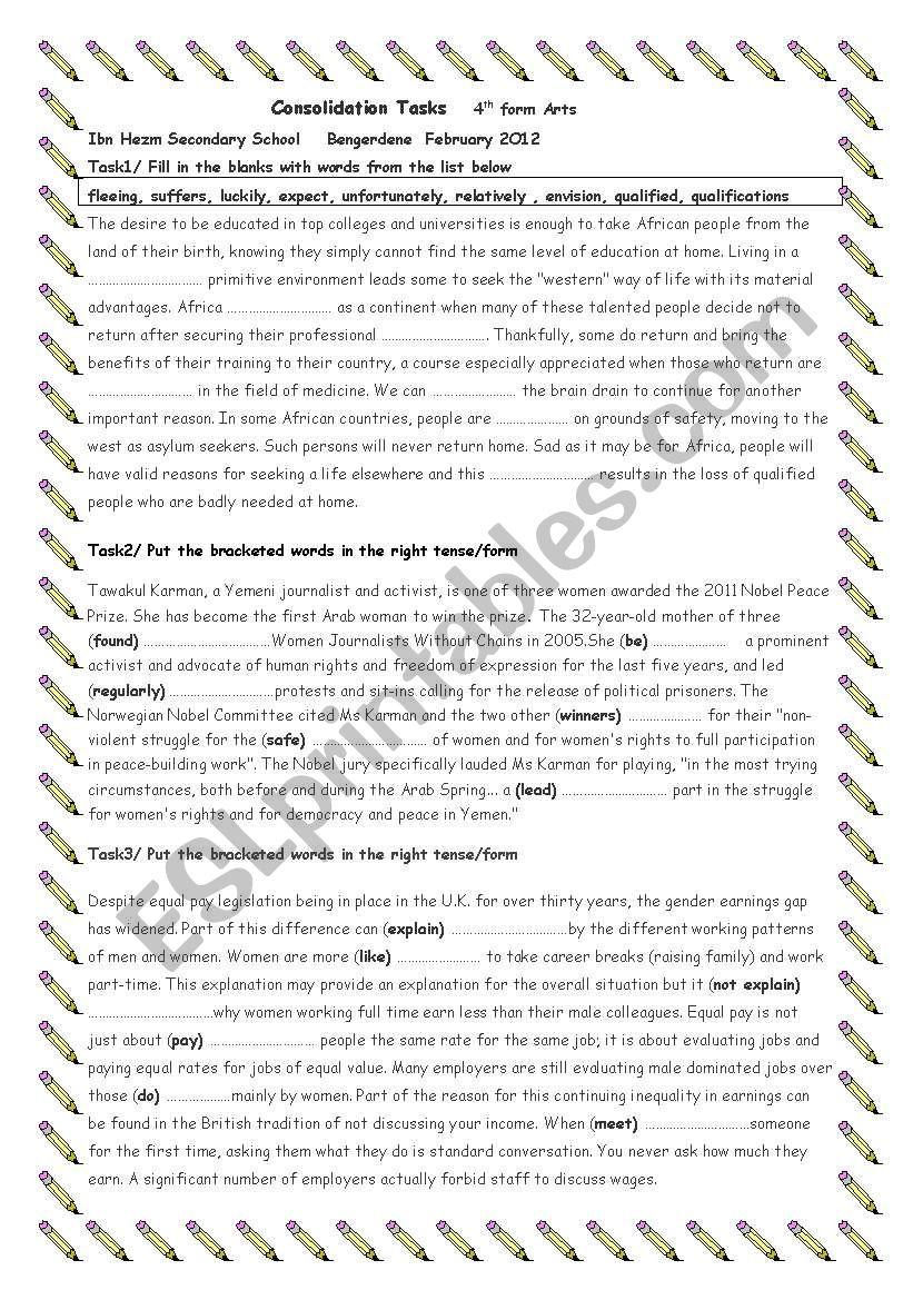 4th form Revision Tasks Feb2O12