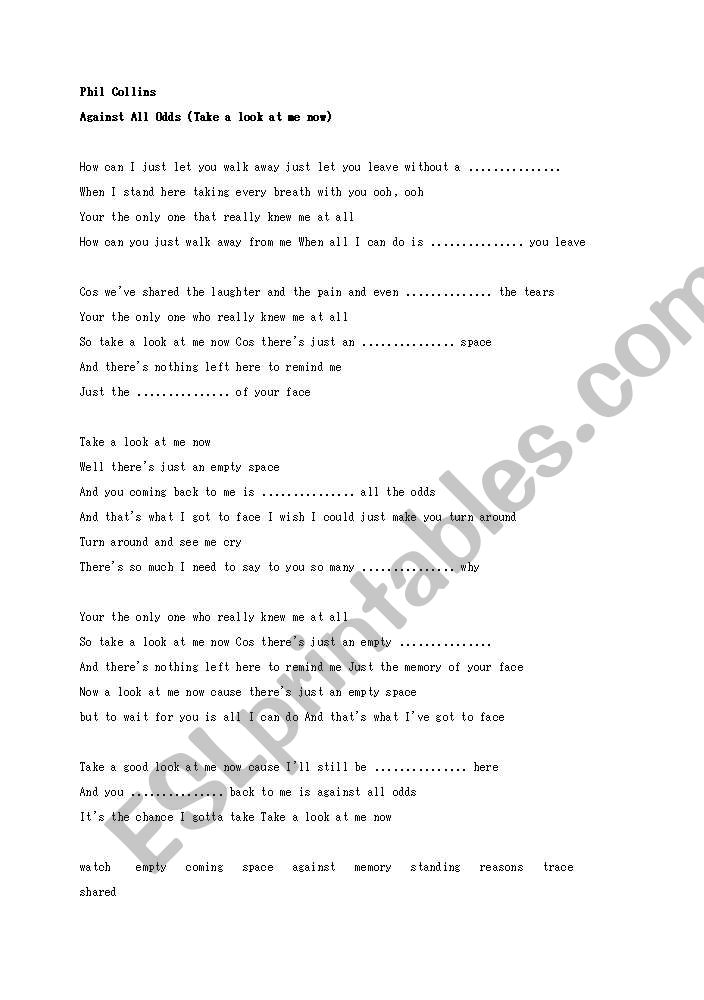 Phil Collins/Againt All Odds Song Worksheet