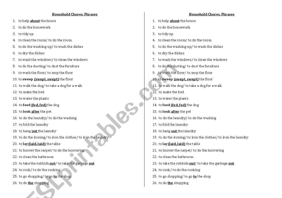 Household Chores. Phrases worksheet