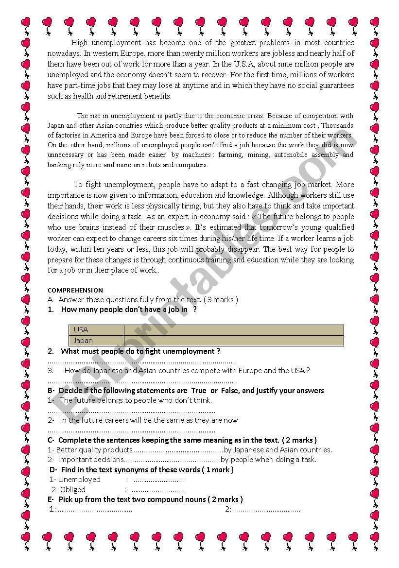 High unemployment  worksheet