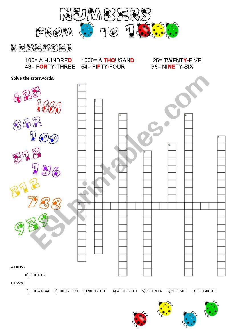 Numbers 1 to 1000 worksheet