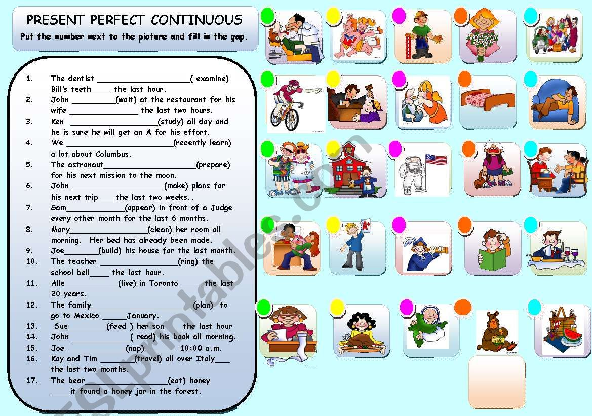 PRESENT PERFECT CONTINUOUS worksheet
