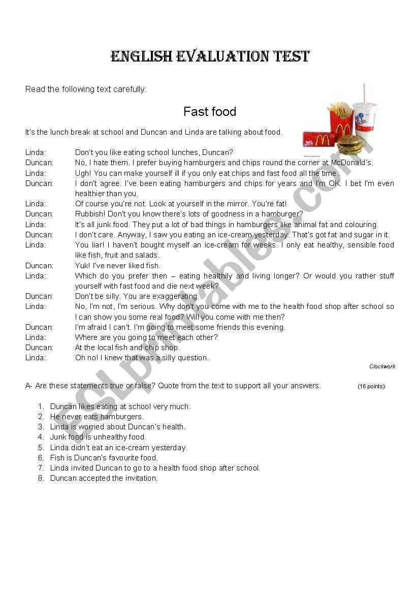 Fast Food worksheet