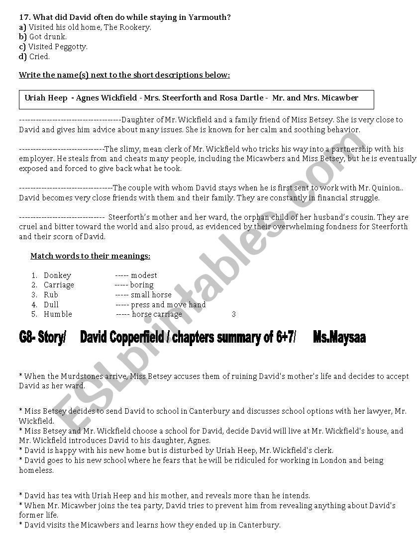 English worksheets: David Copperfield Story