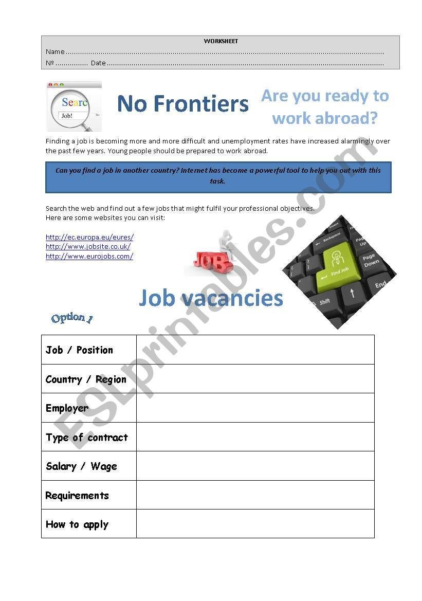Findind a job online - ESL worksheet by margmir