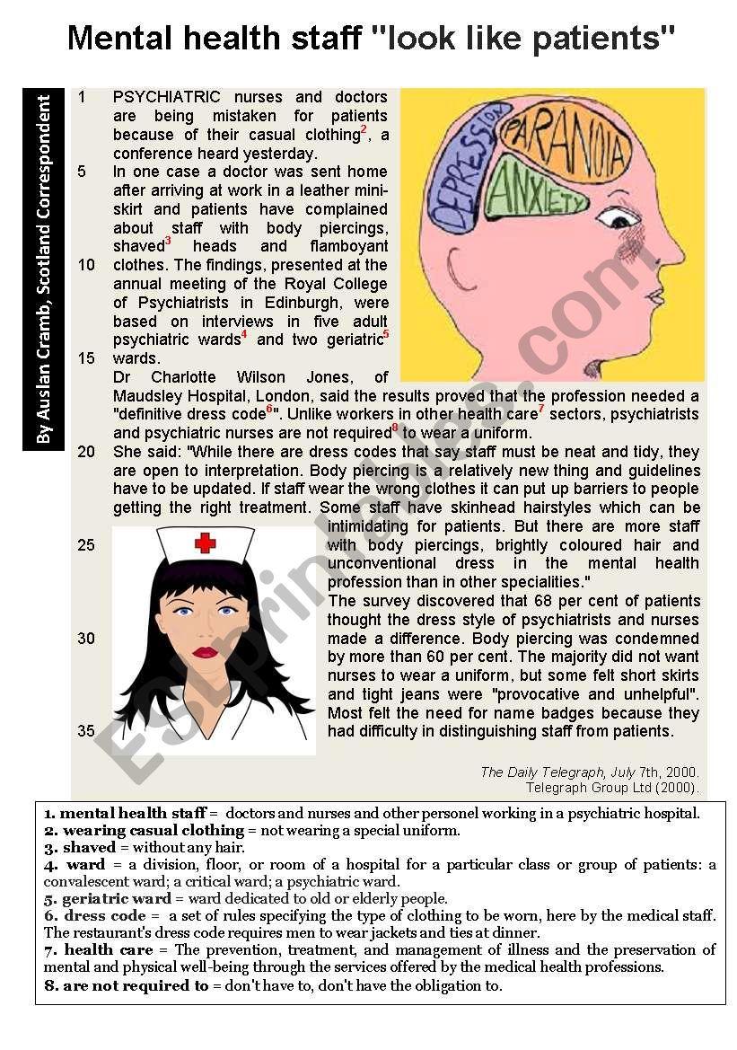 Mental health staff  worksheet