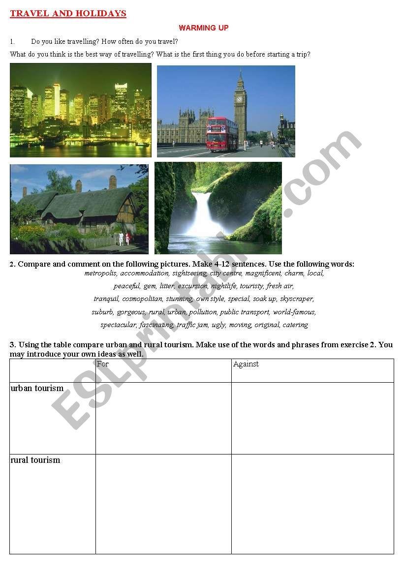 travel and holidays worksheet