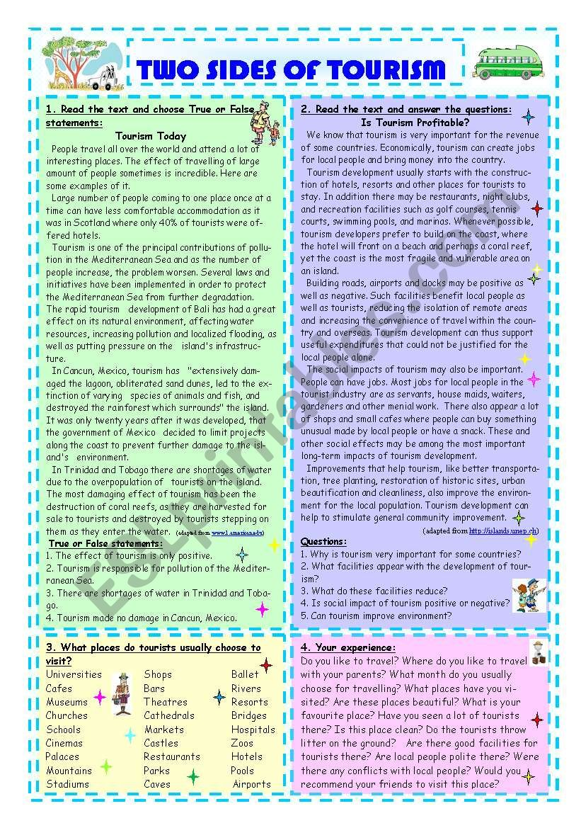 Two Sides Of Tourism worksheet