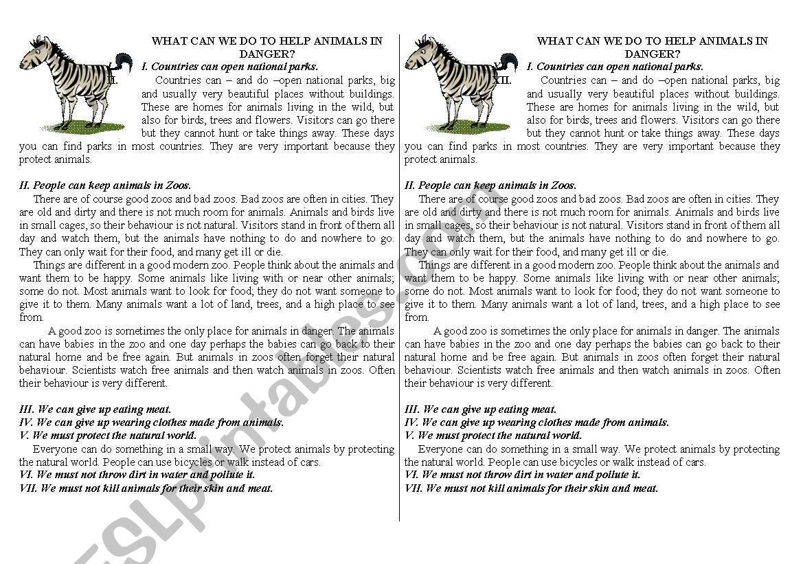 How to help animals in danger worksheet