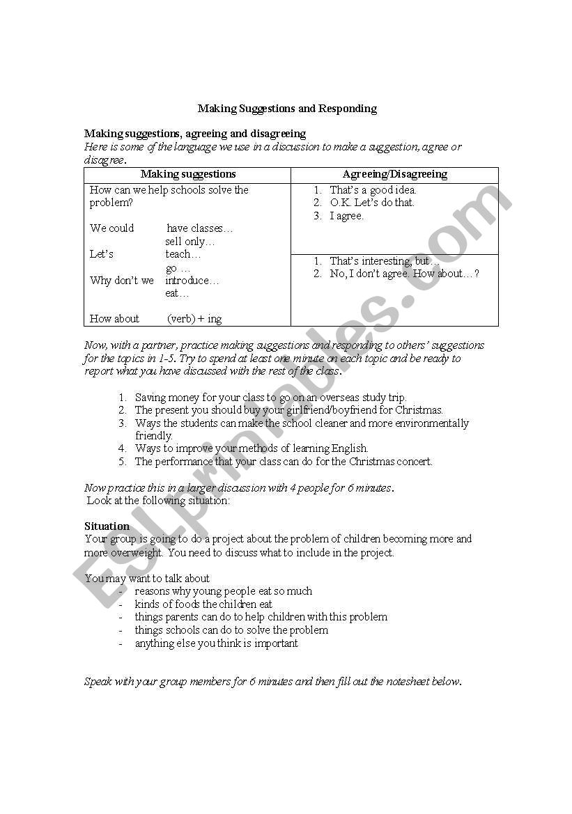 Making suggestions and responding - ESL worksheet by sperras