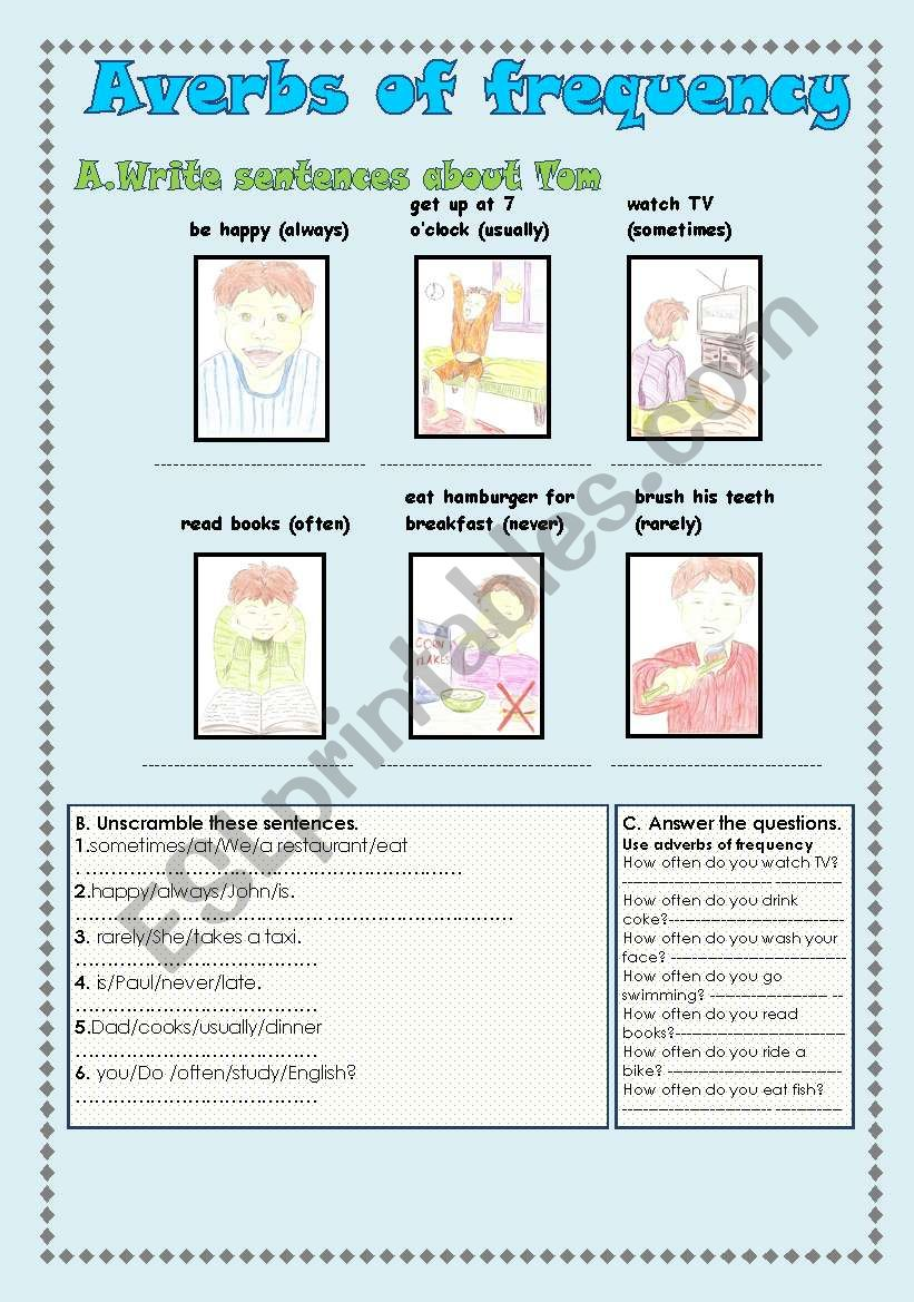 adverbs of frequency worksheet