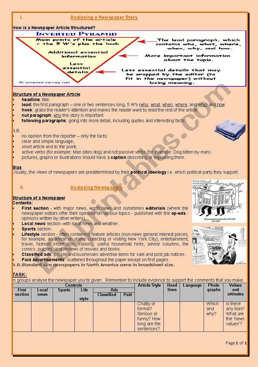 Analysing newspapers 1 worksheet