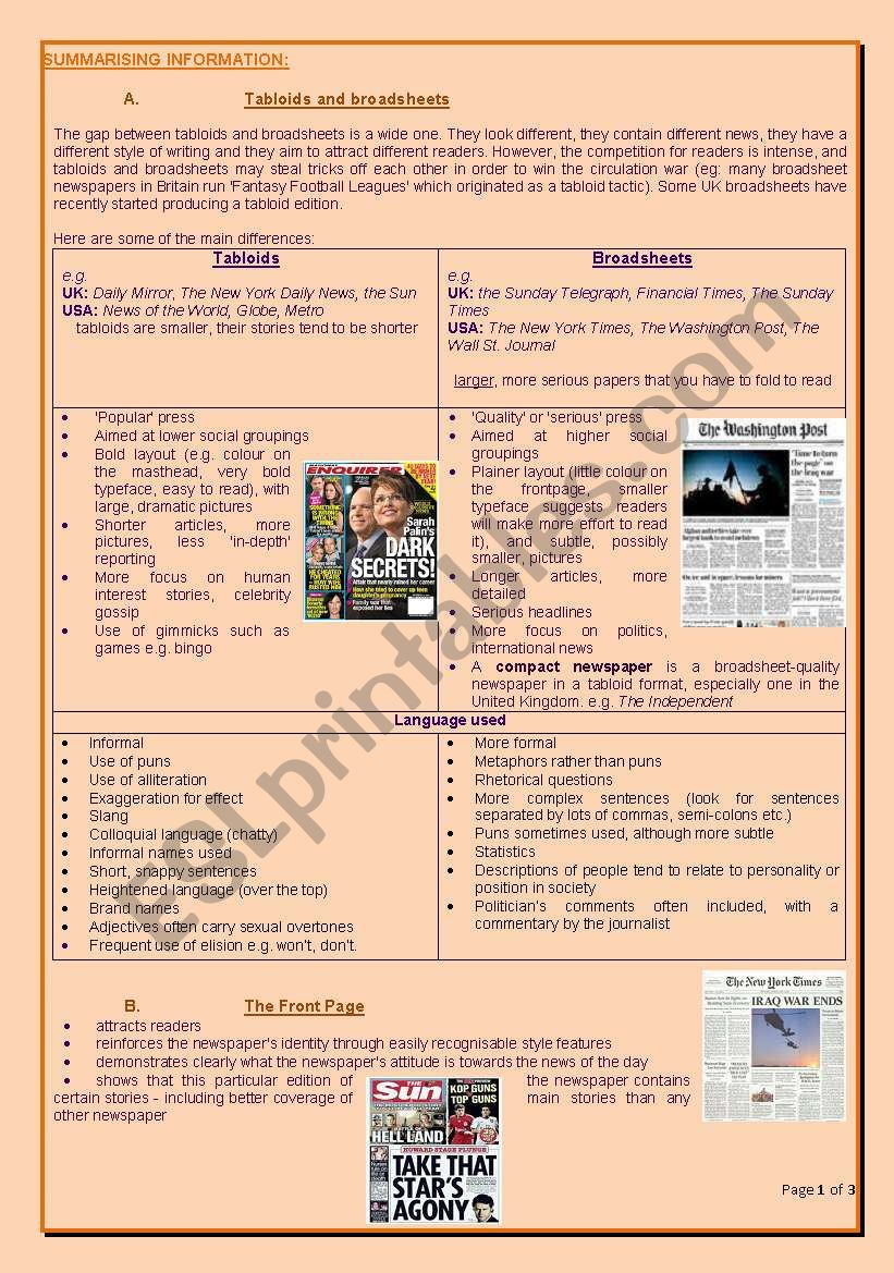 Analysing newspapers 2 worksheet