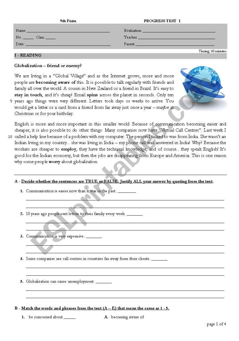 Globalization worksheet