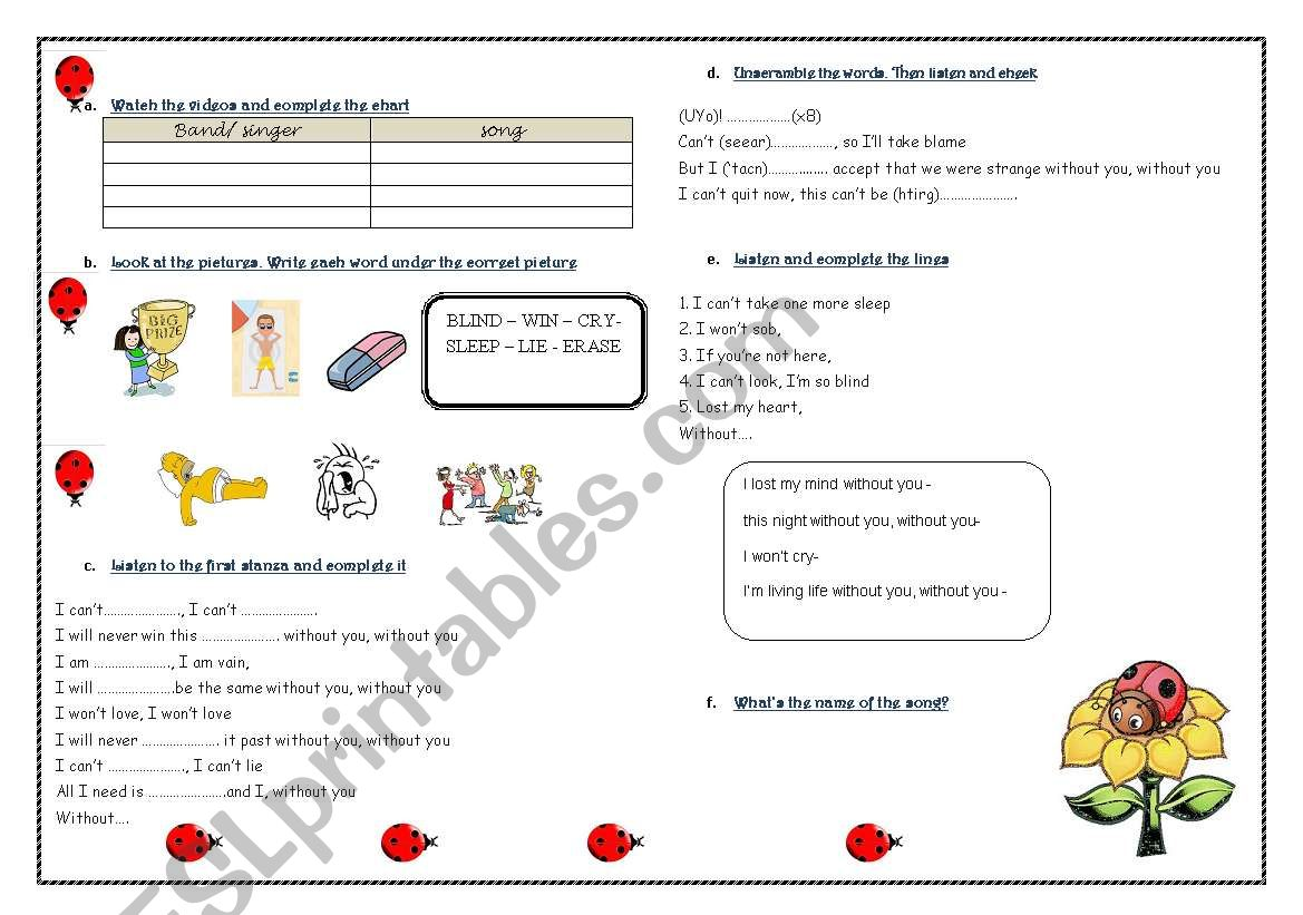 Song: without you- David Guetta Ft  Usher - ESL worksheet by
