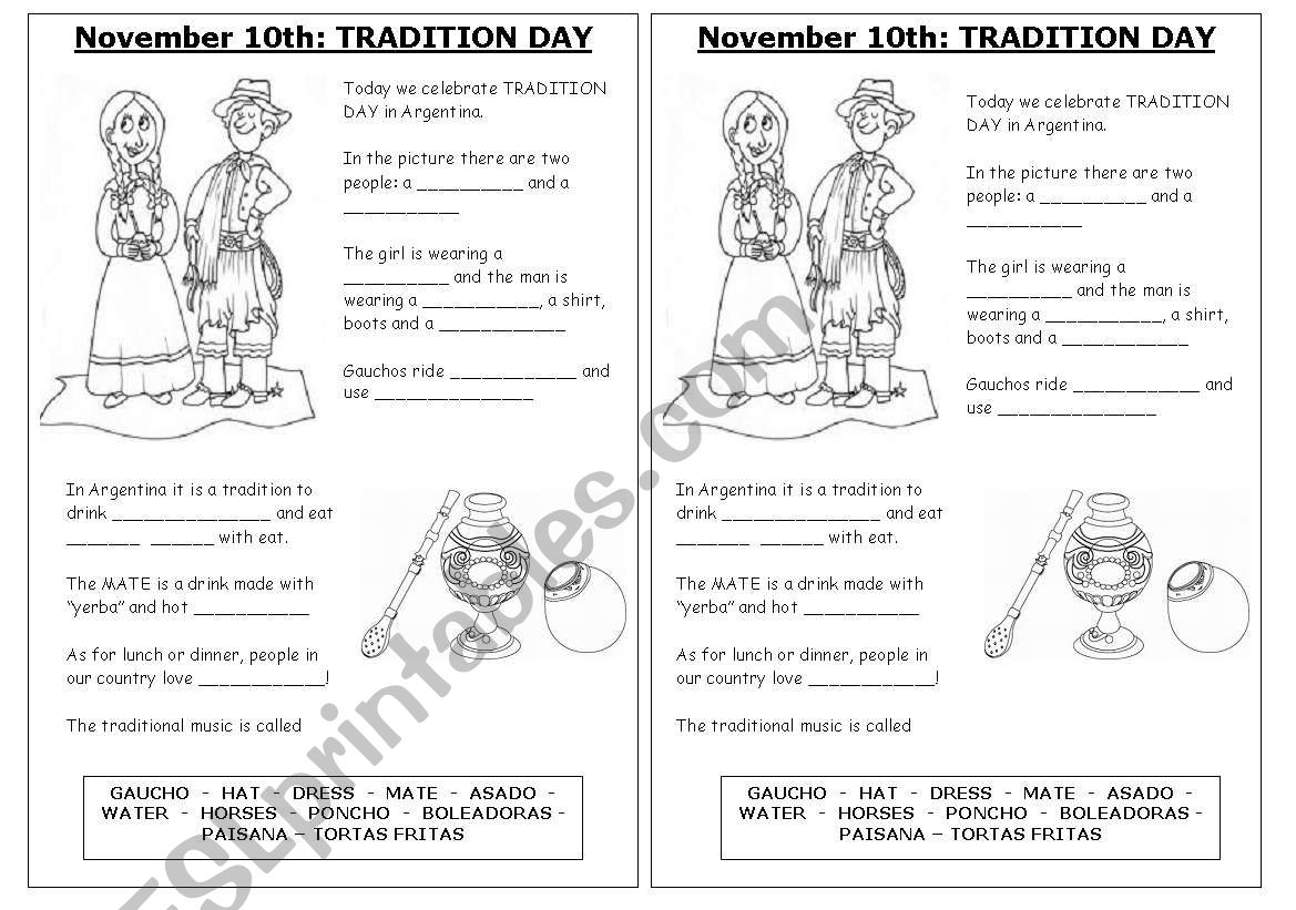 Tradition Day Argentina worksheet