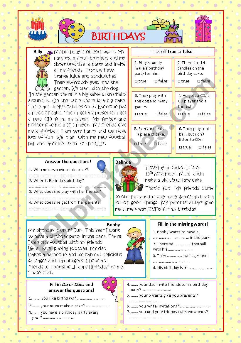 Birthdays (2 pages, +KEY) worksheet