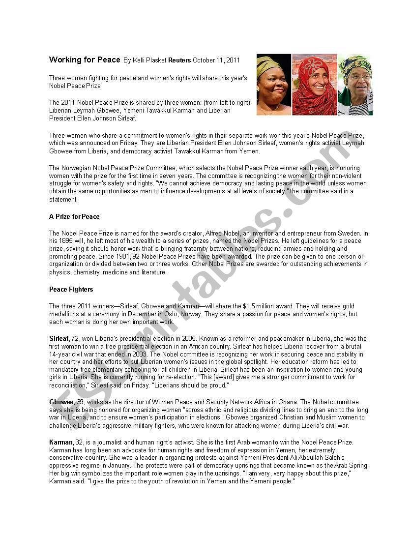 Nobel Peace Prize Lesson Plan worksheet