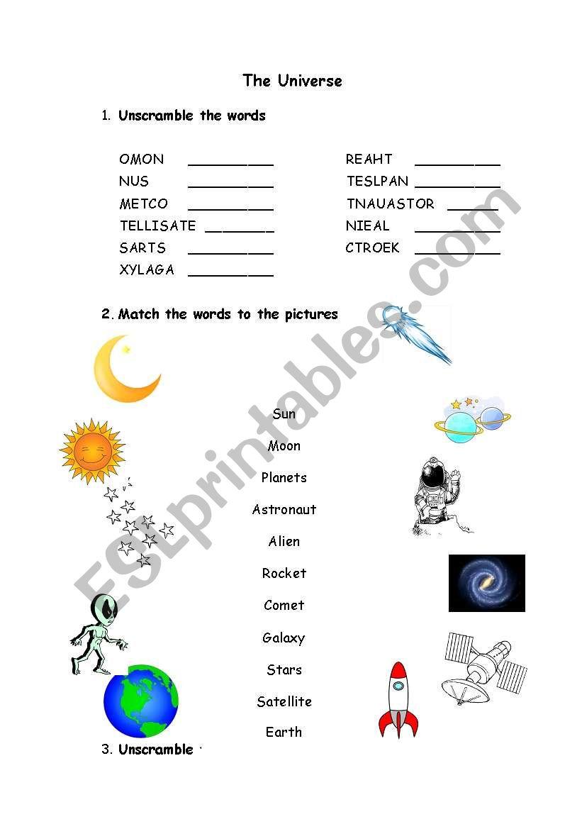 The Universe - matching - ESL worksheet by ritinha23