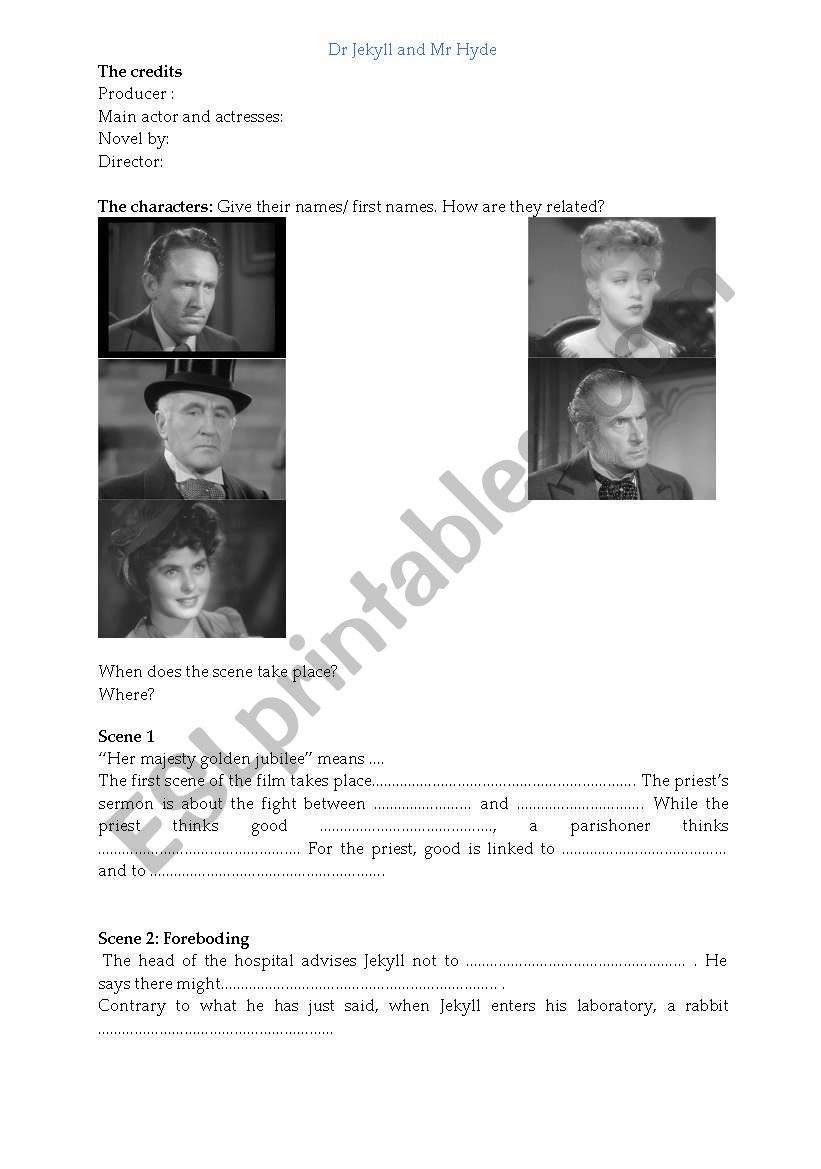 Dr Jekyll and Mr Hyde worksheet