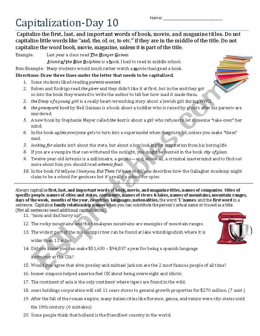 Capitalization- Day 10 worksheet