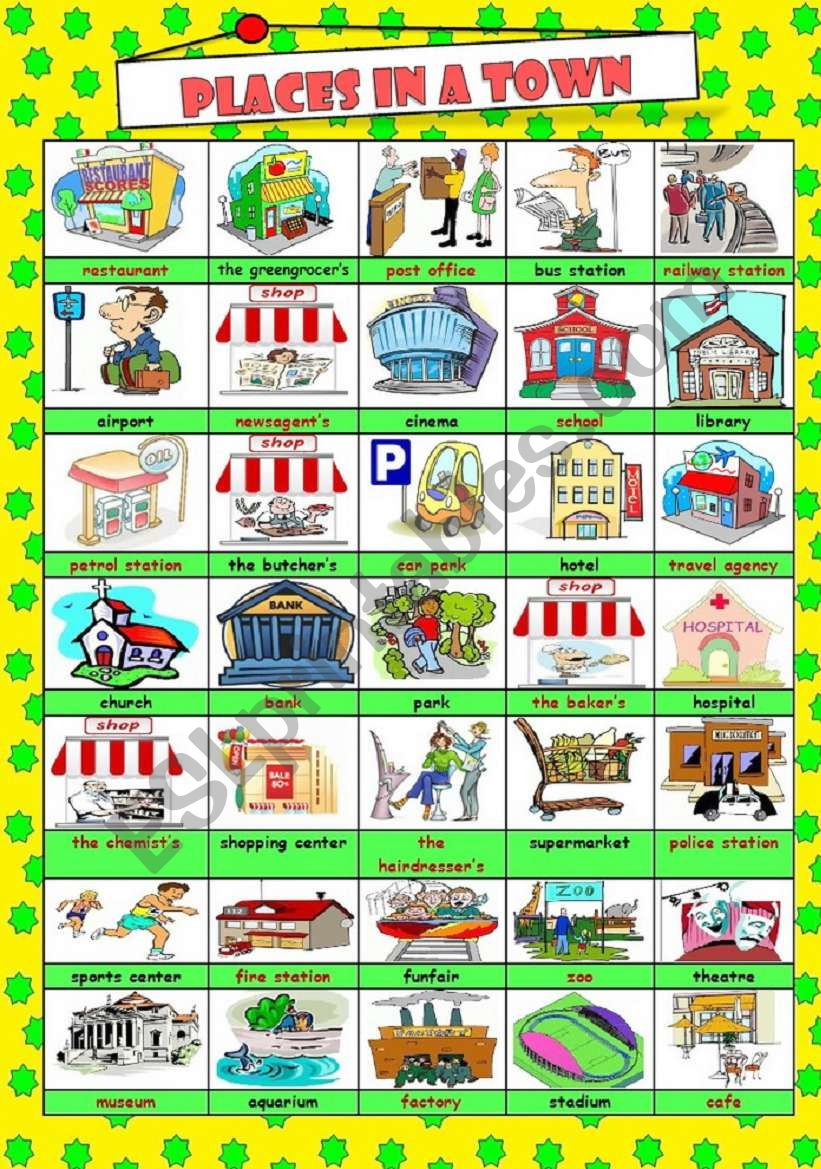 PLACES IN A TOWN***PICTIONARY worksheet