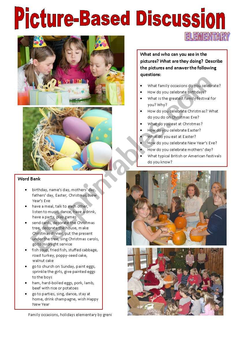 Picture-based discussion Elementary - (03) Family occasions, holidays