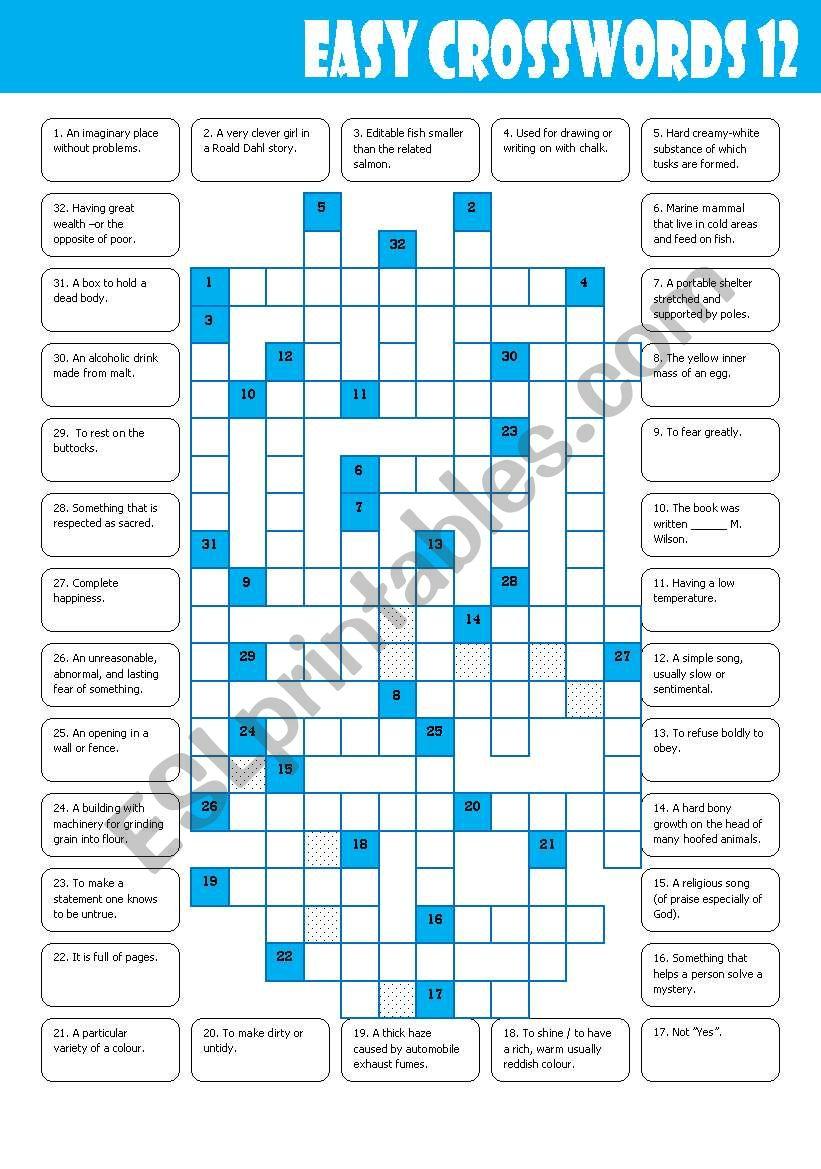 Easy Crosswords: 12 - ESL worksheet by Mulle