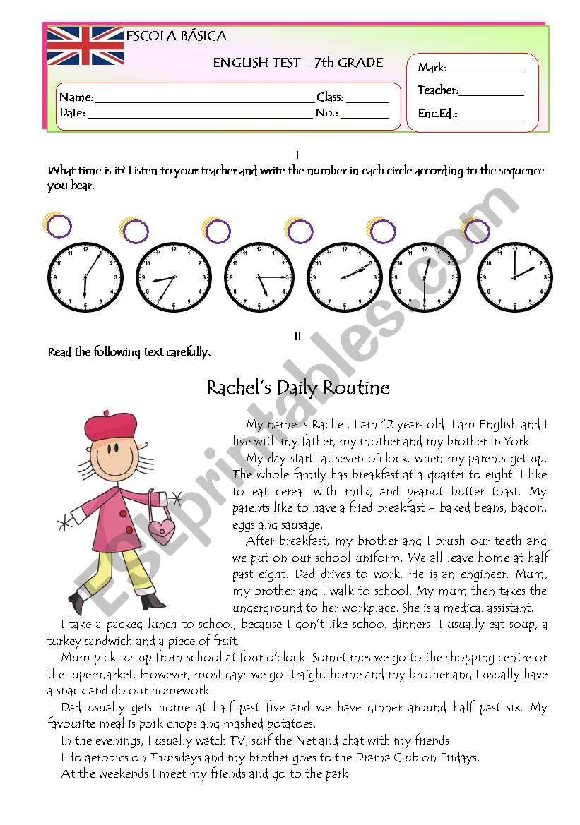 Test on Daily Routine Version B Part 1