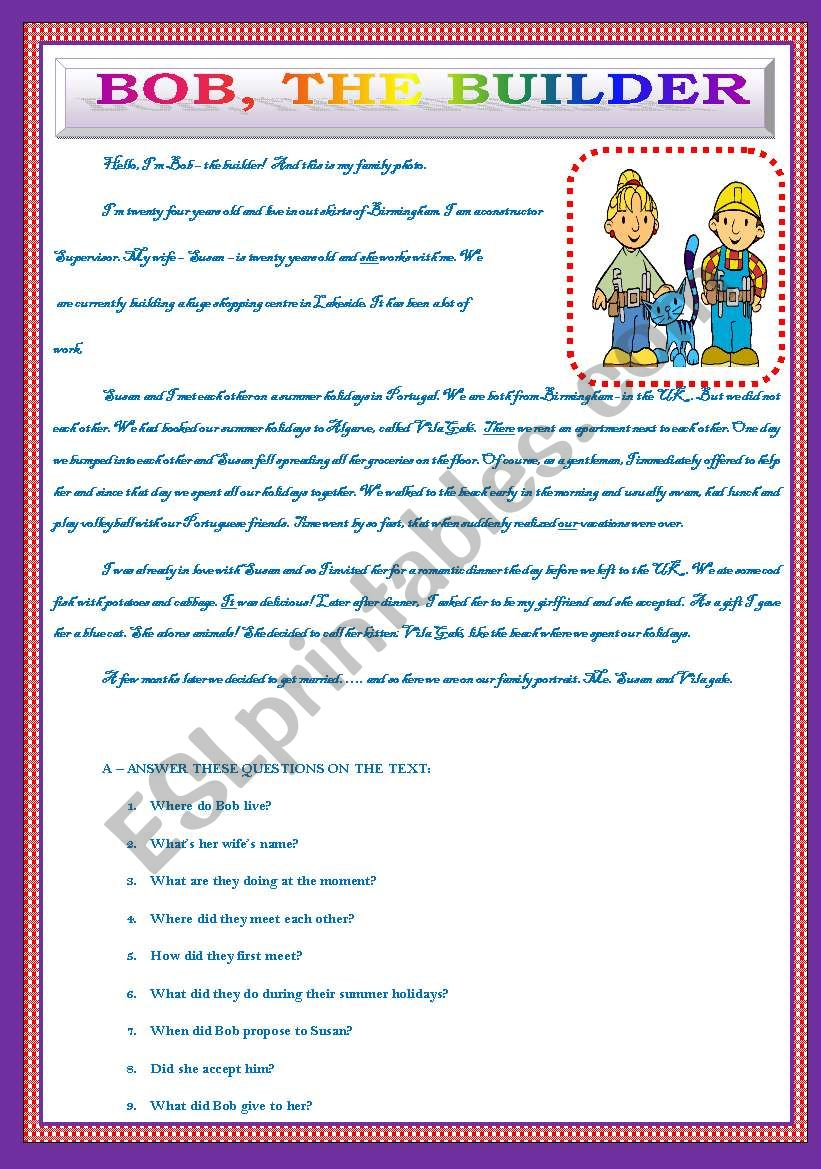 Bob´s holidays - the builder worksheet