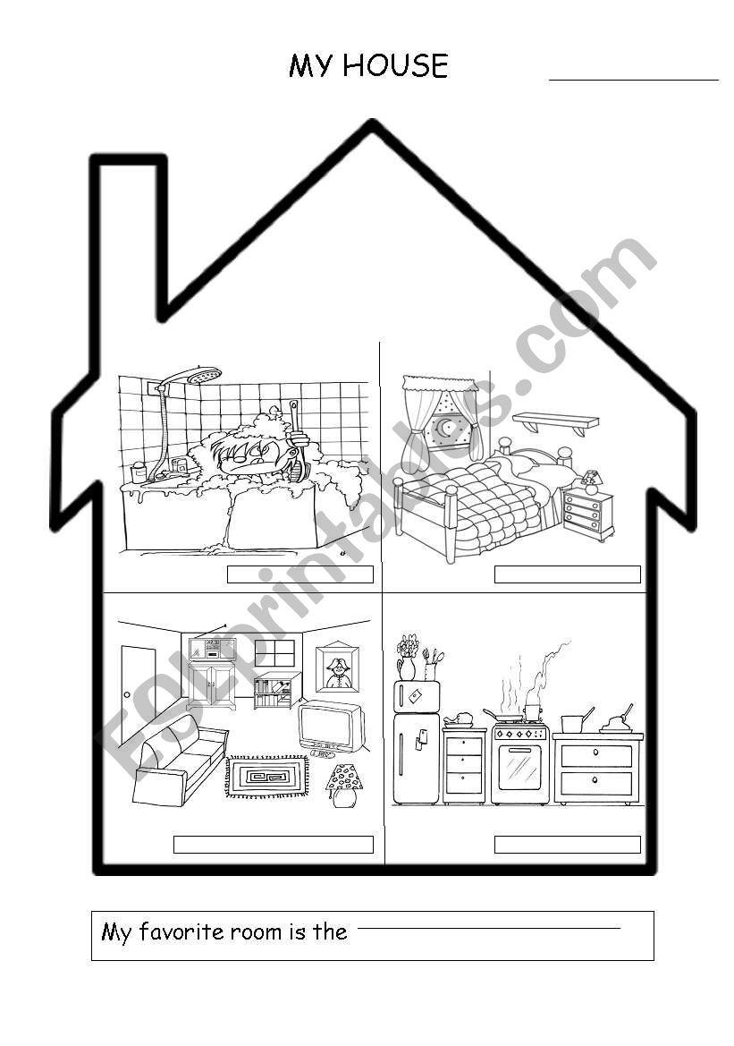 House Rooms Worksheet: ESL Worksheet By Soraya ESL