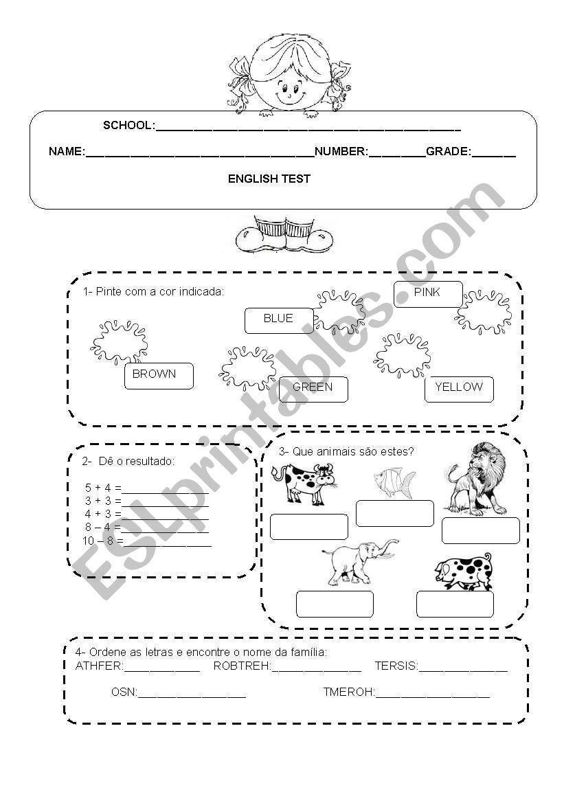 English Test 5th grade - ESL worksheet by Valdirene