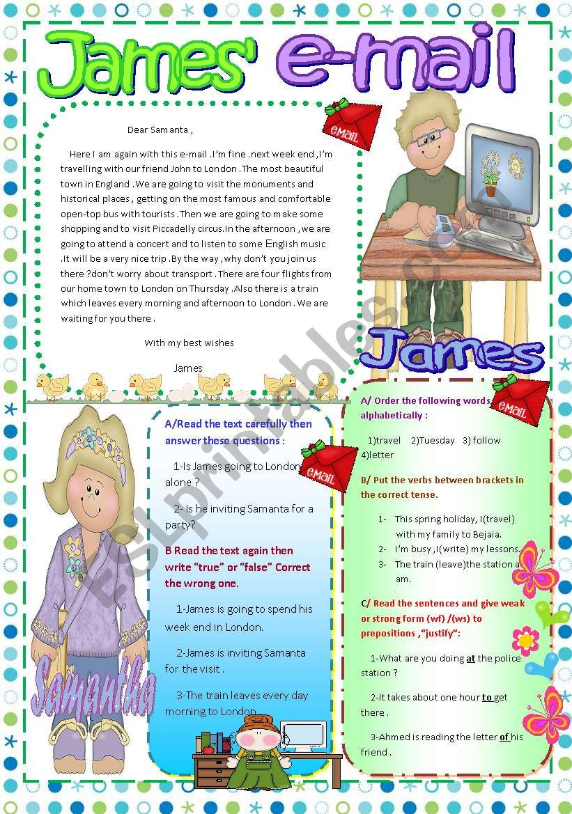 James´ e-mail worksheet