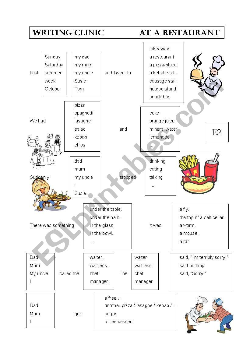 Writing clinic: Eating out worksheet