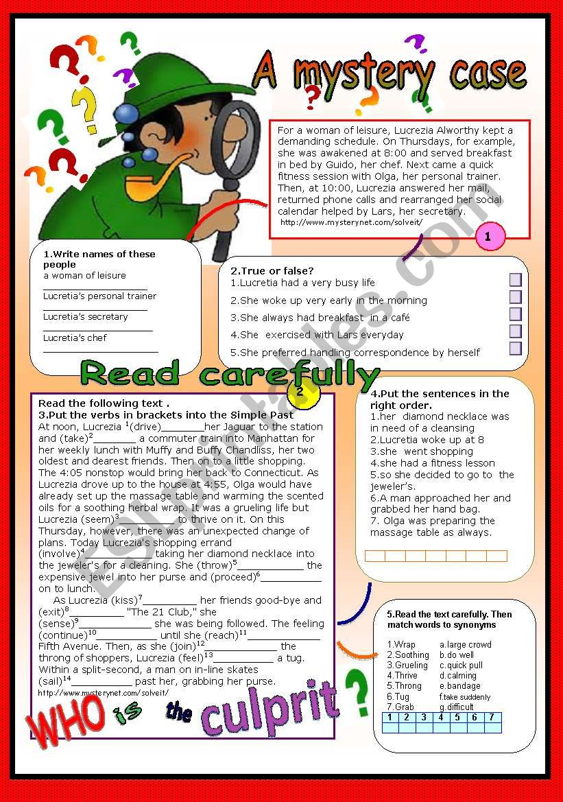 A mystery case worksheet