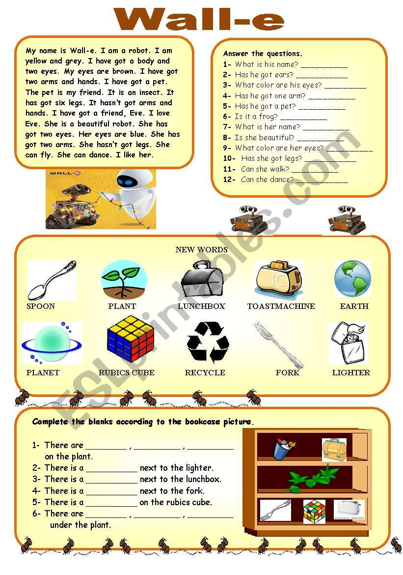 wall e worksheet reading comprehension prepositions there is are esl worksheet by canankiran. Black Bedroom Furniture Sets. Home Design Ideas