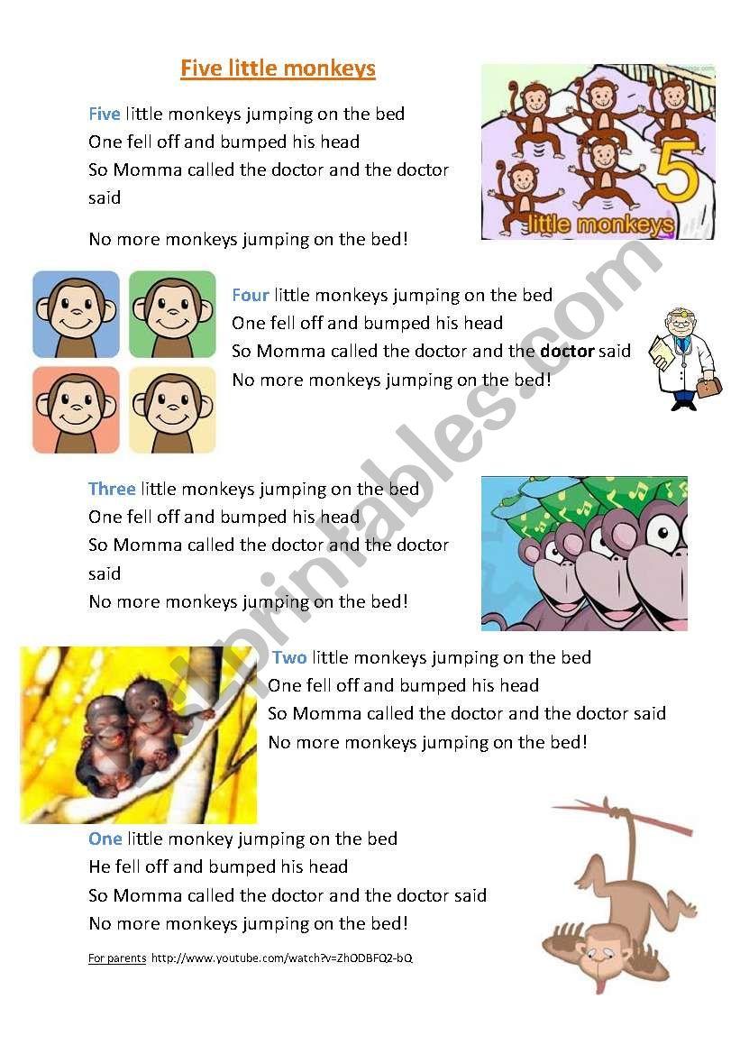 Five little monkeys song worksheet