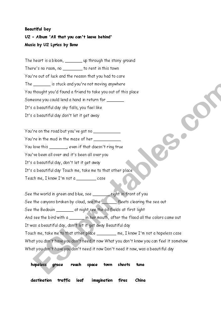 English worksheets: U2/It´s A Beautiful Day Song Worksheet