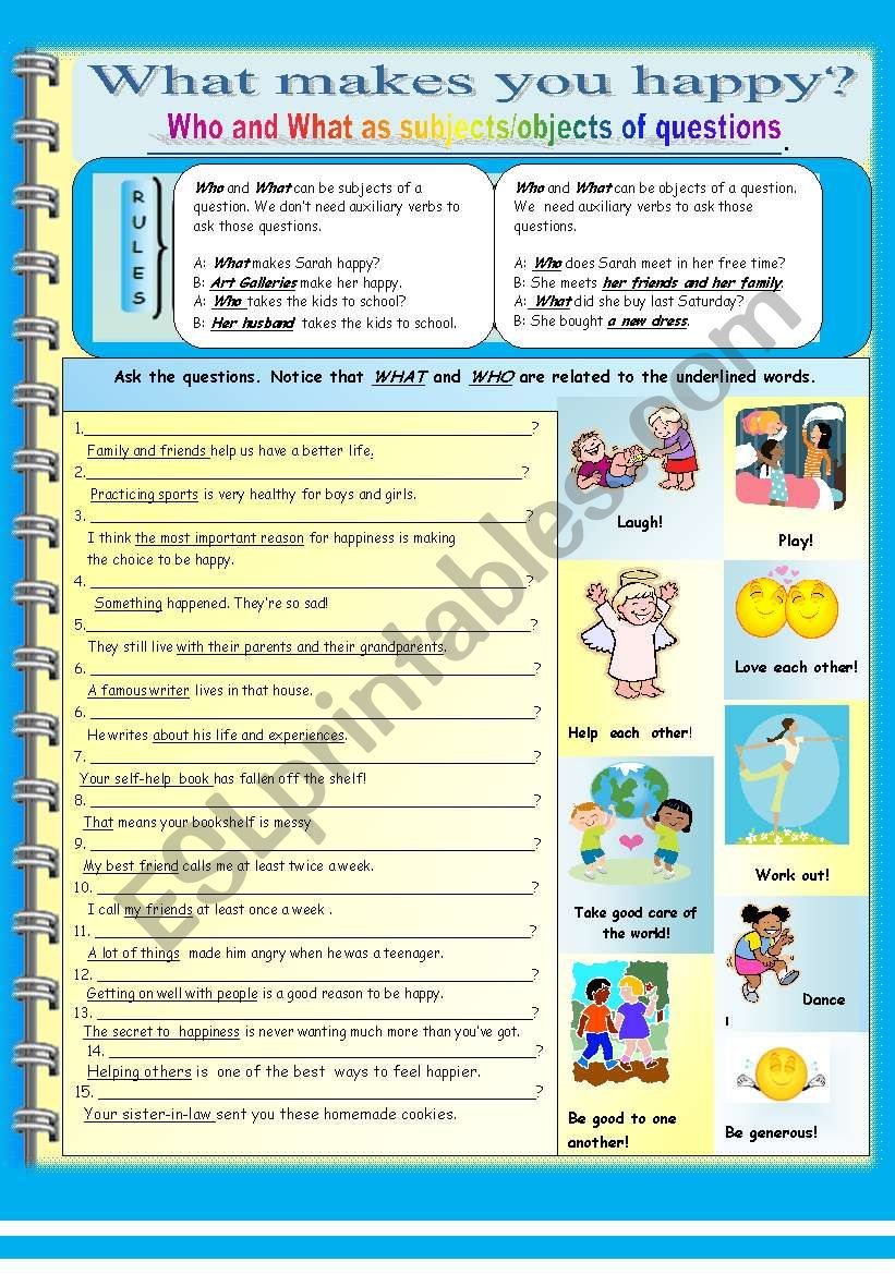 What makes you happy? worksheet